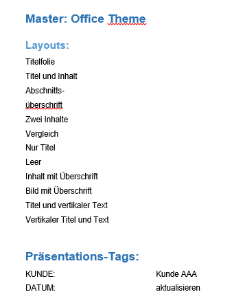 PPT Tags in Word Dokument Ergebnis 1